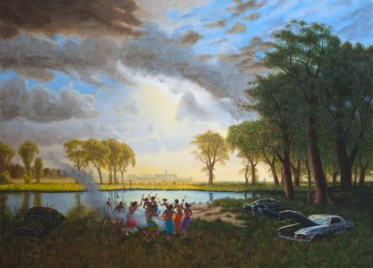 <b>Kent Monkman</b>. <i>Reincarceration</i>, 2013. Acrylic on canvas. Collection of Glenbow Museum.