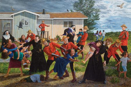 <b>Kent Monkman</b>. <i>The Scream</i>, 2017. Acrylic on canvas, 84x132