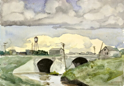 Walter J. Phillips. Bridge at St. Boniface, c. 1920–1939. watercolour on paper, 17.6 x 25.3 cm. Collection of the Winnipeg Art Gallery; Gift of Robert and Margaret Hucal, 2003-132.