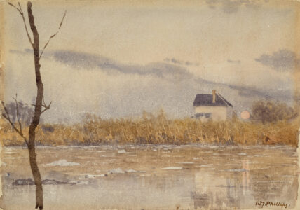 Walter J. Phillips. Ice on Red River, c. 1920. watercolour on paper, 17.8 x 25.4 cm. Collection of the Winnipeg Art Gallery; Gift of Robert and Margaret Hucal, 2014-32.