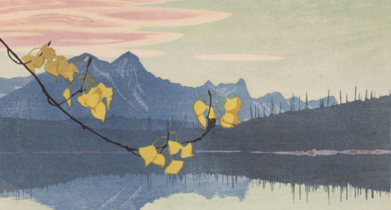 Walter J. Phillips. Leaf of Gold, 1941. woodcut on paper, 17/100, 26.4 x 35.4 cm. Collection of the Winnipeg Art Gallery. Gift of the artist's family, G-63-259. Photo: Serge Saurette, courtesy of the Winnipeg Art Gallery.