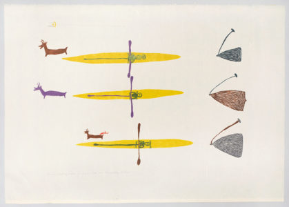 Luke Anguhadluq. The Men Hunting Caribou in Kayaks, 1978. linocut and stencil on paper.Government of Nunavut Fine Art Collection, On long-term loan to the Winnipeg Art Gallery, 987.106.2.
