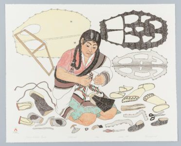Kananginak Pootoogook. Printmaker: Pitseolak Niviaqsi.  Making Sealskin Kamiks, 1987. lithograph on paper (sommerset), 22/50. Government of Nunavut Fine Art Collection, On long-term loan to the Winnipeg Art Gallery, 987.87.12.