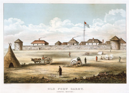 G. Kemp. Old Fort Garry, n.d. Lithograph on paper, 40.3 x 55.4 cm. Collection of the Winnipeg Art Gallery. Gift of Miss Ruth Elvin, G-87-57.