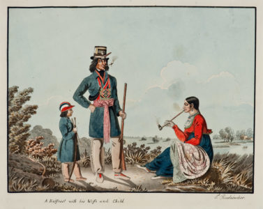 Peter Rindisbacher. A Metis Family (A Half-caste with his Wife and Child), 1825. watercolour, ink on paper. Collection of the Winnipeg Art Gallery. Acquired with financial assistance from the National Museums of Canada, G-82-215.