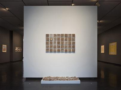 Maureen Gruben. Breathing Hole (detail), 2019. Dricore insulation board, stainless steel pins, sealskin, white cotton thread. 121.9 x 76.2 cm. (8)