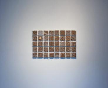 Maureen Gruben. Breathing Hole (detail), 2019. Dricore insulation board, stainless steel pins, sealskin, white cotton thread, 48x30.