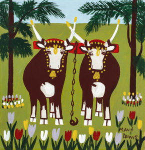 Maud Lewis. Two Oxen in Spring, 1960s. oil on board, 31.8 x 30.5 cm. Collection of CFFI Ventures Inc. as collected by John Risley. Copyright Art Gallery of Nova Scotia. L2019.84.40.