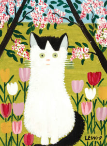 Maud Lewis. Black and White Cat, 1962. oil on board, 30.5 x 22.9 cm. Collection of CFFI Ventures Inc. as collected by John Risley. Copyright Art Gallery of Nova Scotia. L2019.84.41.