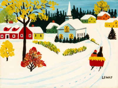 Maud Lewis. The Sunday Sleigh Ride, n.d. oil on board, 22.9 x 30.5 cm. Collection of CFFI Ventures Inc. as collected by John Risley. Copyright Art Gallery of Nova Scotia. L2019.84.51.