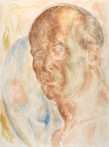 Lionel LeMoine FitzGerald. Self-Portrait (with nude in upper left corner), c. 1945. watercolour on paper, 60.9 x 45.7 cm. Collection of the Winnipeg Art Gallery; Acquired with funds from the Women's Committee and The Winnipeg Foundation, G-63-21.