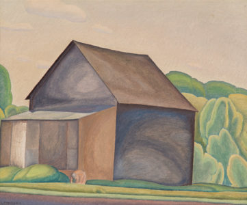 Lionel LeMoine FitzGerald. The Barn, c. 1930. oil on board, 29.7 x 36.4 cm. Collection of the Winnipeg Art Gallery; Gift from the Estate of Arnold O. Brigden, G-73-327.