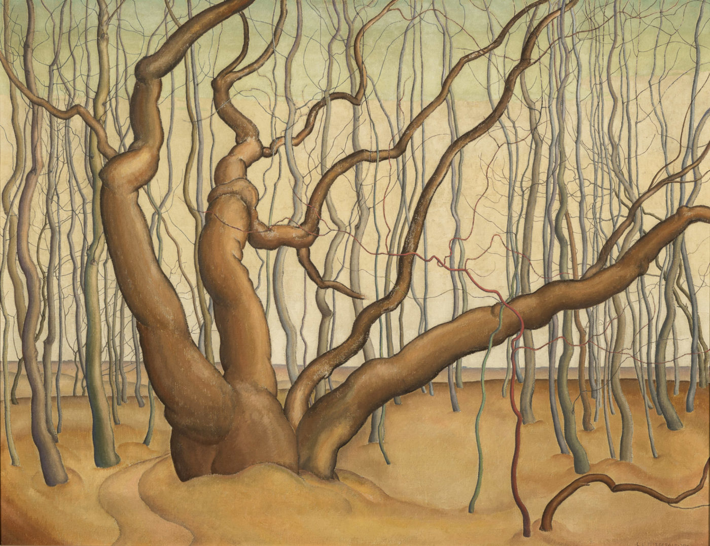 Lionel LeMoine FitzGerald.Poplar Woods (Poplars), 1929.oil on canvas,71.8 x 91.5 cm.Collection of the Winnipeg Art Gallery;Acquired in memory of Mr. and Mrs. Arnold O. Brigden, G-75-66.