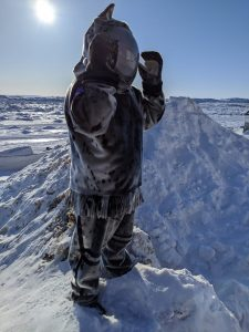 Jesse Tungilik. Seal Skin Spacesuit, photo Jessica Kotierk.