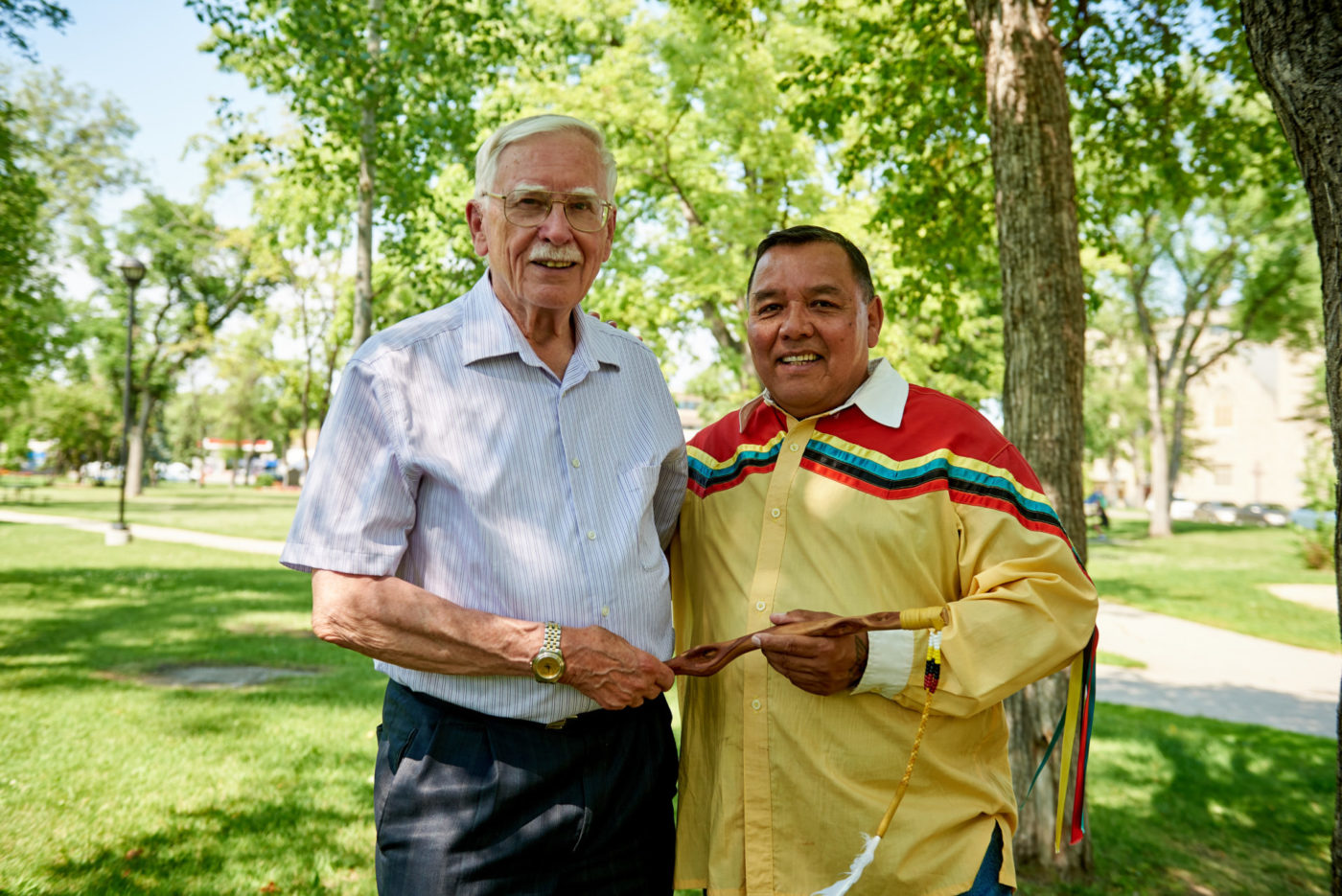 2017 Circles for Reconciliation, supported by the Winnipeg Foundation. Left: Raymond Currie, Project Coordinator; Right: Clayton Sandy, Indigenous Ambassador. Photo: Ian McCausland.