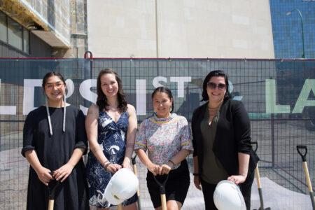 Guest Curators of INUA. L-R: Kablusiak, Krista Ulujuk Zawadski, asinnajaq, Dr. Heather Igloliorte. Photo: Pauline Boldt, 26 Projects.