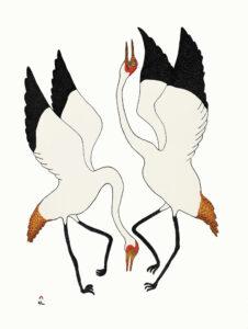 Quvianaqtuk Pudlat, Dancing Cranes, Stonecut (20-02)