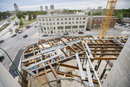 MIKE DEAL / WINNIPEG FREE PRESS  Construction continues at the Winnipeg Art Gallery for the Inuit Art Centre which is set to open in 2020.  190628 - Friday, June 28, 2019.