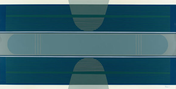 Tony Tascona.Blue Stratas, 1973.acrylic lacquer on aluminum,91.2 x 182.6 cm.Collection of the Winnipeg Art Gallery;Gift of Mr. S. Drache, Q.C. and Mrs. Drache, G-74-9.