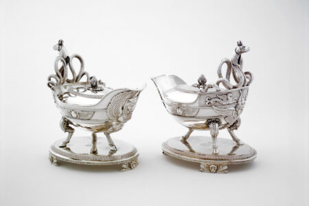 Digby Scott and Benjamin Smith for Rundell, Bridge & Rundell (English, 19th century),Designer: Jean-Jacques Boileau, attributed to, French.Sauce boat on stand, 1806.silver;22.8 x 14 x 22.6 cm.Collection of the Winnipeg Art Gallery; Gift of an anonymous donor, 2004-3 a-d.Photo: Ernest Mayer
