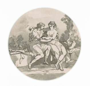 Angelica Kauffmann (Swiss/Austrian (born in Switzerland), 1741–1807).Mythological Figures, c. 1790.ink, wash on paper,17.1 x 17.2 cm Image: 14.7 x 14.7 cm.Collection of the Winnipeg Art Gallery; Gift from the Estate of Arnold O. Brigden, G-73-515.Photo: Ernest Mayer