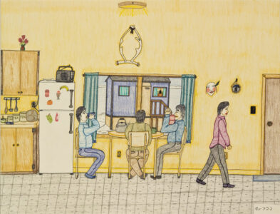 Annie Pootoogook (Canadian (Cape Dorset), 1969–2016). Tea Drinkers, 2001–2002, coloured pencil on paper, 51 x 66 cm. Collection of the Winnipeg Art Gallery. Acquired with funds from the Mr. and Mrs. G.B. Wiswell Fund, 2007-110. Photograph: Ernest Mayer, courtesy of the Winnipeg Art Gallery.