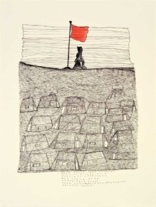 Napachie Pootoogook. Inuit (Kinngait), 1938–2002. Namonai's Vision of the Future, 1995–1996. black felt-tip pen, coloured pencil on paper. Collection of the Winnipeg Art Gallery. Gift of West Baffin Eskimo Co-operative, 2008-104