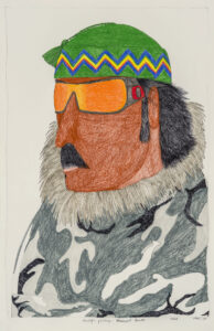 Ningiukulu Teevee. Inuit (Kinngait), b. 1963. Asivaqti Palirniq (Weathered Hunter), 2016. graphite, coloured pencil, ink on paper. Collection of the Winnipeg Art Gallery. Acquired with funds from the Estate of Mr. and Mrs. Bernard Naylor. funds administered by The Winnipeg Foundation, 2017-85